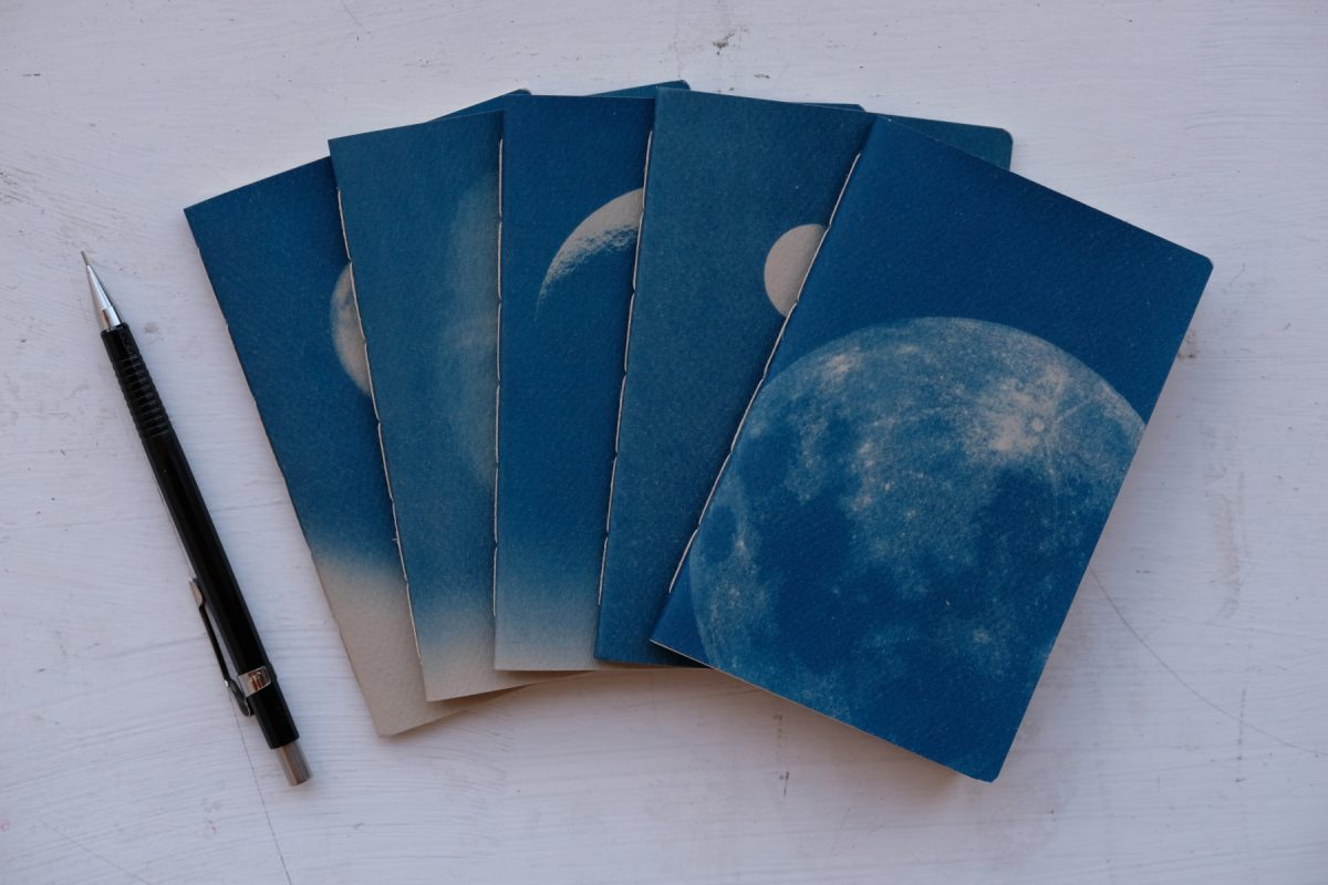 Photograph of five blue notebooks and a pencil for scale